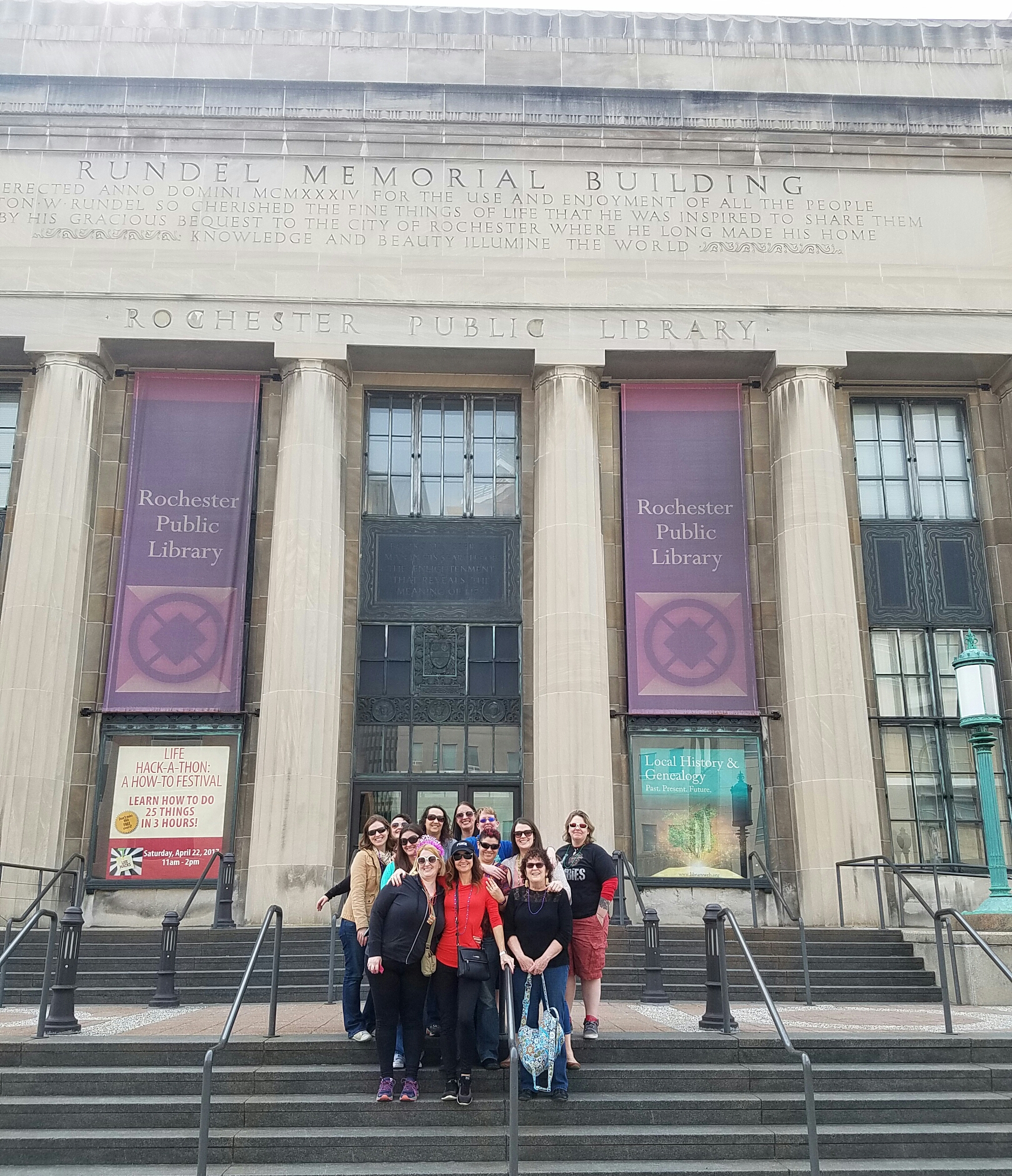 A Team Building History Tour in Front of Rundell Library Rochester